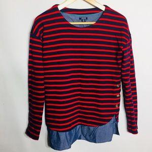 Izod striped shirt peek out hemline top